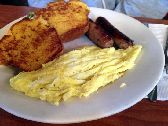 Crabapple's: Scrambled eggs, sausage, & Corn Muffin!