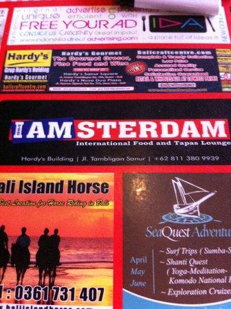 Bistro Amsterdam: De placemat