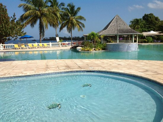 Plymouth, Tobago: The very family friendly pool, children's pool and the bar area.
