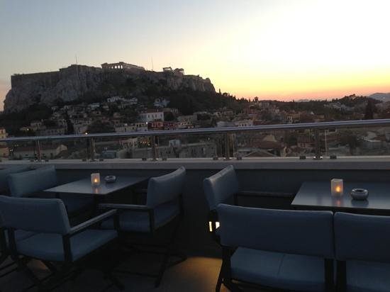 sunset before the Acropolis is lit