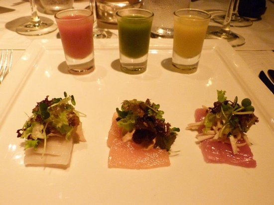 The Oberoi, Mauritius: Trilogy of gazpacho and sashimi