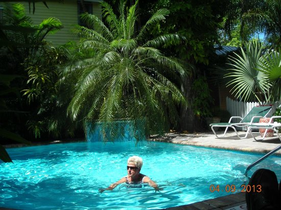 Tropical Inn: my bride of 55 years in the pool