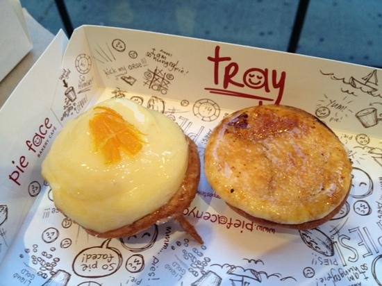 MacarOn Cafe: Lemon on left, pear & ricotta on right