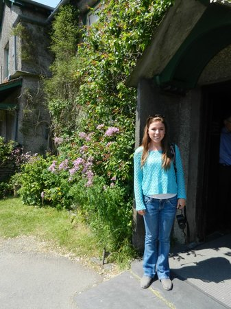 Hill Top, Beatrix Potter's House: My daughter standing by the front door at Hill Top Farm.