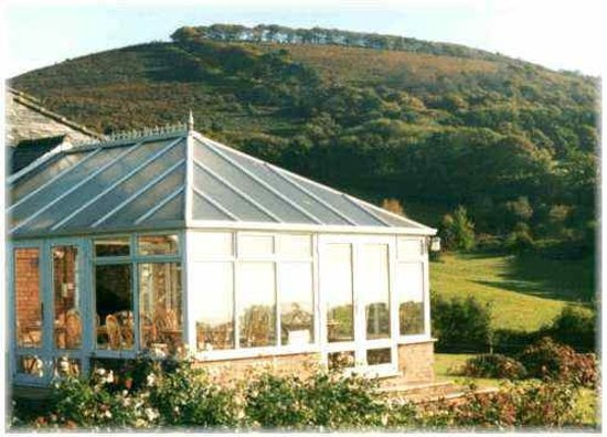 Stable Cottage Tea Room: The sunny conservatory and views to the Quantock Hills