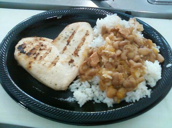 Golden Sweet Bakery: grilled chicken breast with rice and beans