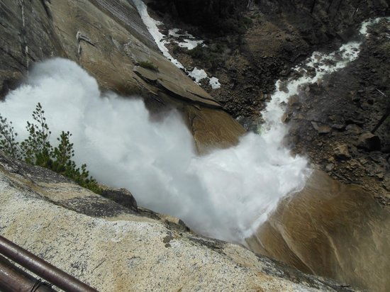 Mist Trail: Looking down Nevada Falls