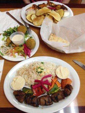 Palm Kabob House : 2 shish Kabob (Beef & chicken) and a starter Falafel