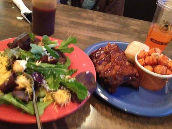 "Hickory's Smokehouse BBQ: The side salad, ribs and ""tots"""