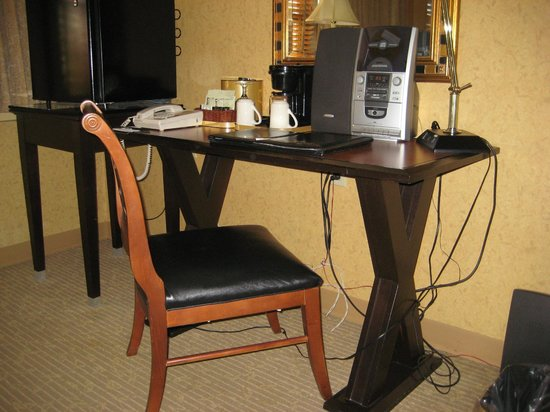 The St. Gregory Hotel: wire everywhere under the desk and uncomfortable chair
