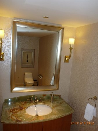commode adjacent to suite entrance and living area