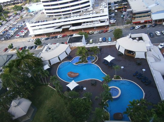 Pullman Cairns International: view of the pool from upper levels