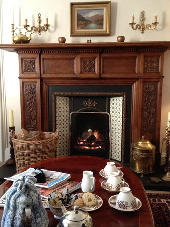 Balmuirfield House Bed and Breakfast : A welcoming fire and tea and biscuits in the sitting room
