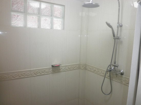 Tropica Resort and Restaurant: Shower big enough to have a party in.