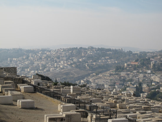 Mount of Olives Jewish Cemetery: Across the valley toward the Old City