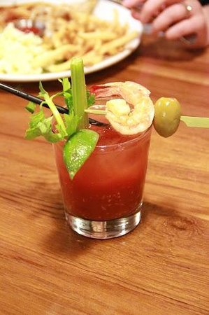 """The Fish Market: Bloody Mary with way too much Spicy sauce. The shrimp """"dressing"""" didn't make it more drinkable"""