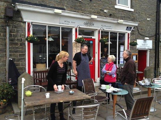 Cafe 1618: John and Bev outside the cafe