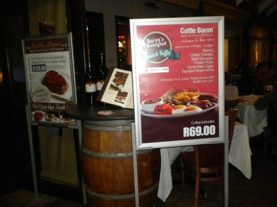 Cattle Baron Grill House: Welcome to the Cattle Baron, Constantia
