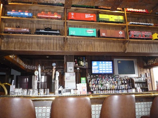 The Freight House: trains above the bar