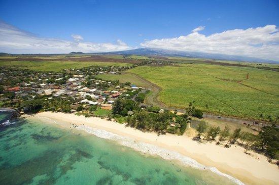 Paia Bay, white sandy beach fronting Paia town