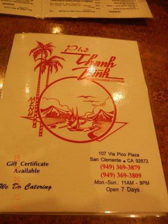 Pho Thanh Binh: menu