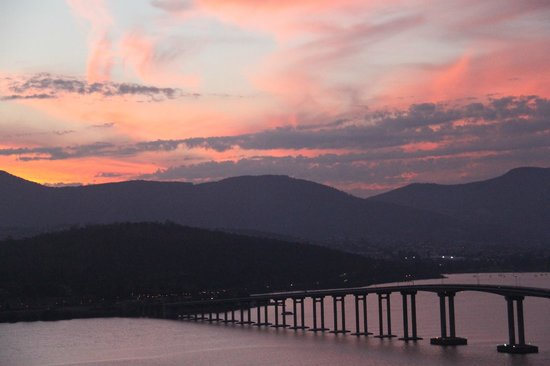 view of Tasman Bridge at sunset from Rosny Hill Nature Recreation Area lookout