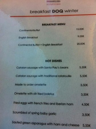 Hotel Indigo Barcelona - Plaza Catalunya: breakfast menu