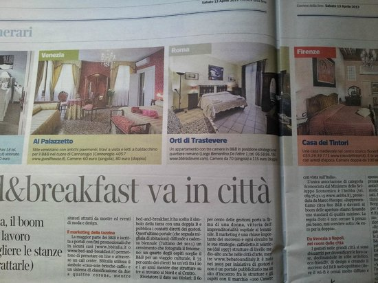Bed & Breakfast Orti di Trastevere: The most famous Italian newspaper (Corriere della Sera) speaks about us!