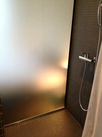 Hotel Kreuzlingen am Hafen: Dusche mit Mattglaswand zum Bett hin
