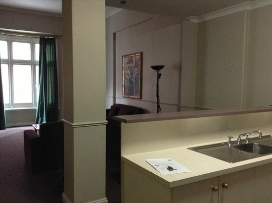 Mansions on Pulteney: Looking to living room from kitchen