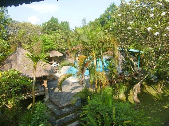 Puri Kelapa Garden Cottages: Het zwembad vanaf ons balkon