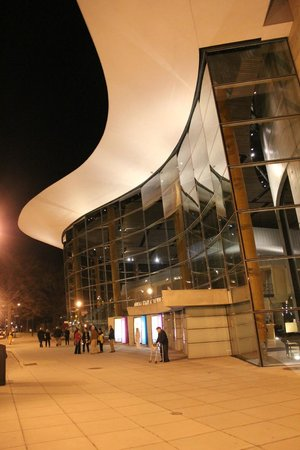 Arena Stage: East exterior at night.