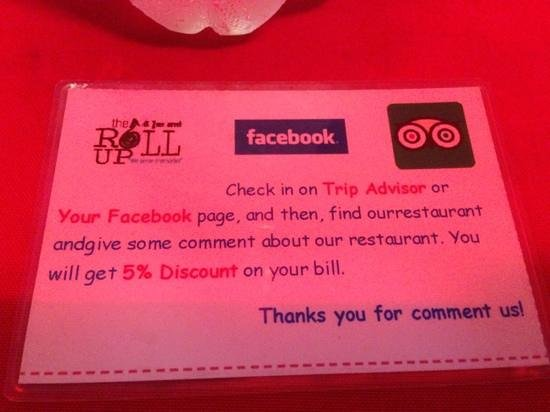 The Roll Up Restaurant: discount for review