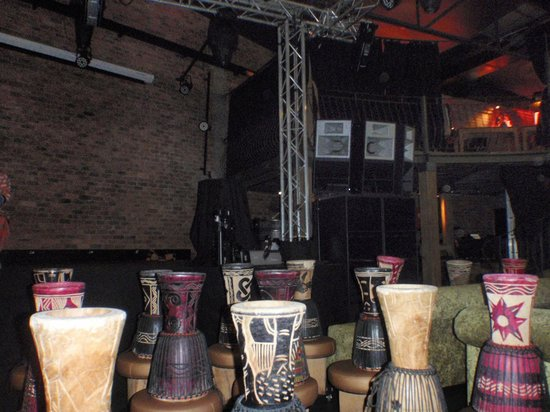 Gold Restaurant: The room with many druns for patrons to learn the art of drumming
