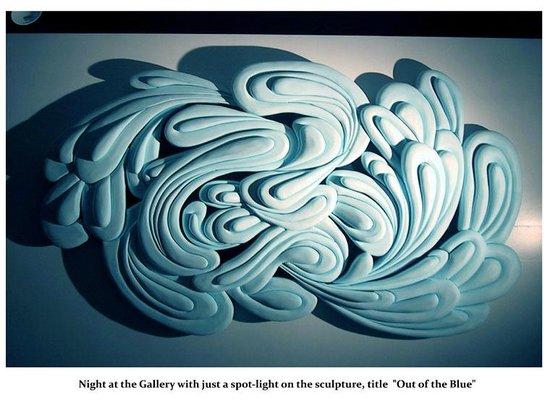 """Pam Foss Fine Art: Out of the Blue Styrofoam relief 72"""" by 45"""" Pam Foss"""