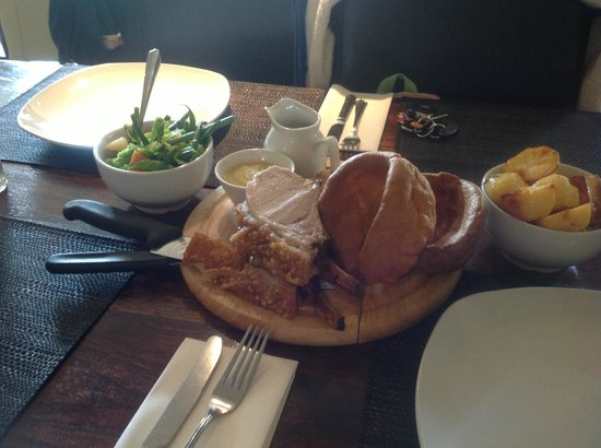 The Waggon & Horses / Choppy's: Very and I mean VERY tough pork. Chewy.  Yorkshire pud hard too. Food LOOKS the part but...