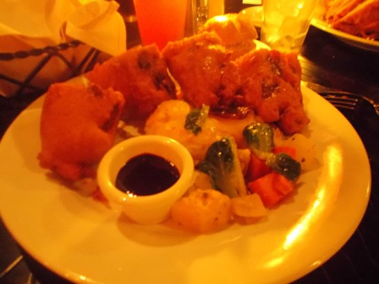 Legendary Monte Cristo Sandwich with mixed vegetables and raspberry dipping sauce (for the sandw