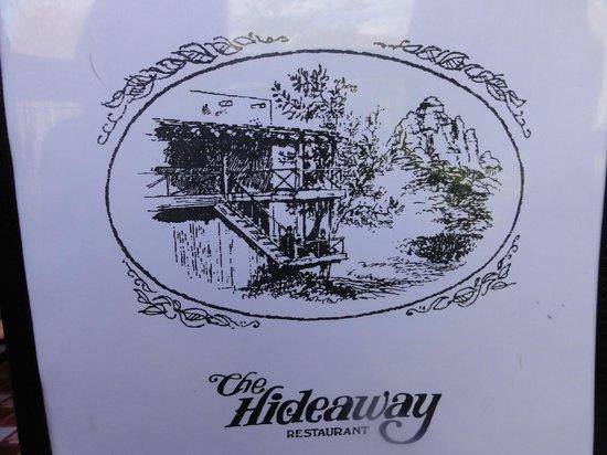 The Hideaway Restaurant : Hideaway menu cover