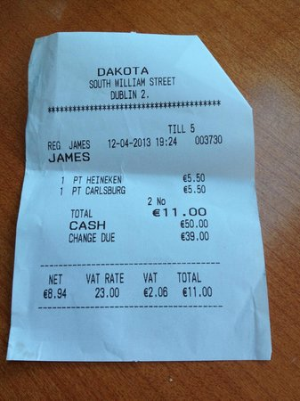 Dakota‎: First Bill for Drinks
