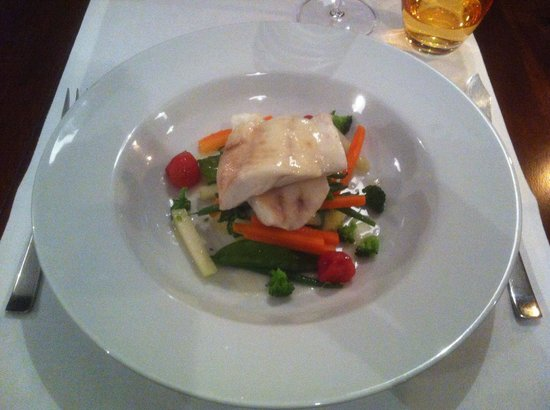 Parkhotel Cochem : Breton turbot with spring vegetables stack, pickled tomatoes and candied lemon sauce