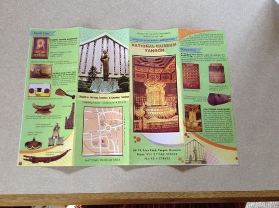 National Museum: Brochure 1. Closed on Mondays & holidays