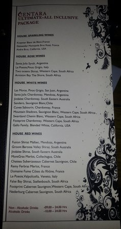 Centara Grand Island Resort & Spa Maldives: drinks menu