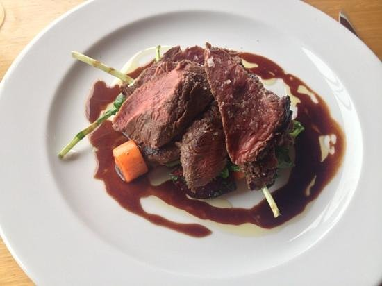 The Jaaning Tree: Lemon myrtle smoked kangeroo loin with beetroot, carrots caramalised pear and a chocolate jus