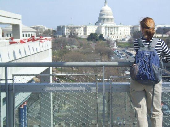 Newseum: The terrace overlooks Pennsylvania Avenue -- and the Capitol.