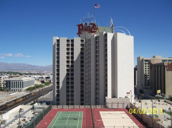 Plaza Hotel & Casino: View if the North tower from the South tower.