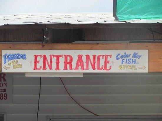 The freezer signage above entrance