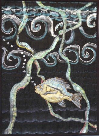 Dreamscapes Studio: Ocean Perch Silk Painting Machine Embroidered Hanging
