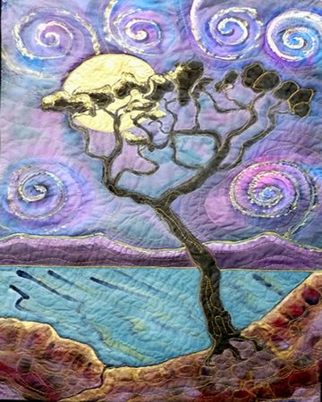 Dreamscapes Studio: Swirly Sky Silk Painting Embroidered Hanging