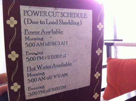 power schedule at Club Himalaya