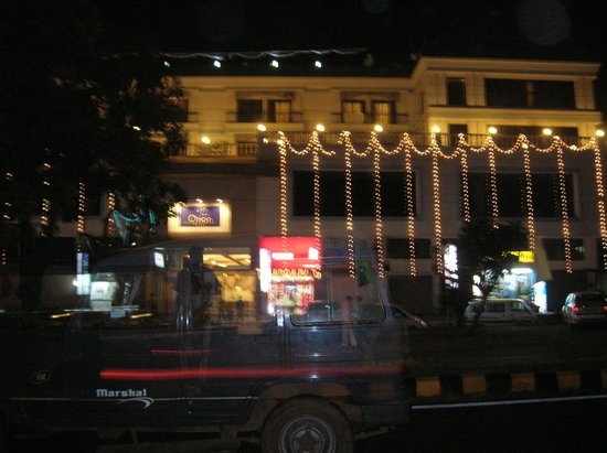 Orion Hotel: Outside view of hotel building during night time